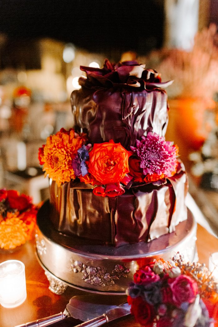 The wedding cake was a chocolate one with fresh blooms on top