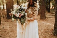 11 a chic wedding gown with a lace applique bodice and a plain skirt with an A-line