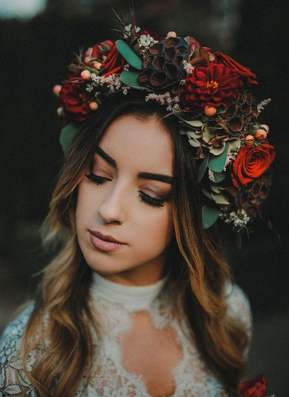 floral headpiece for a boho bride