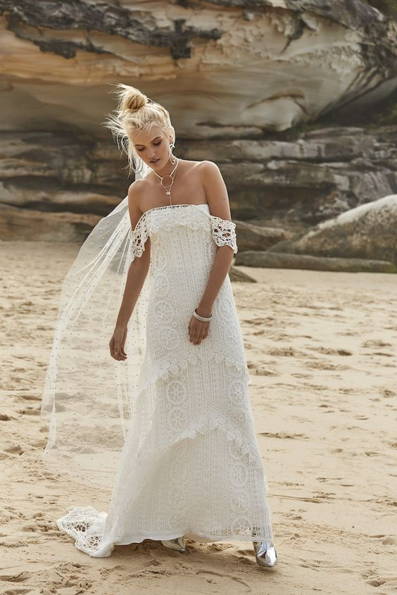 boho lace off the shoulder Mystic charlie A-line dress with layers for a boho beach bride