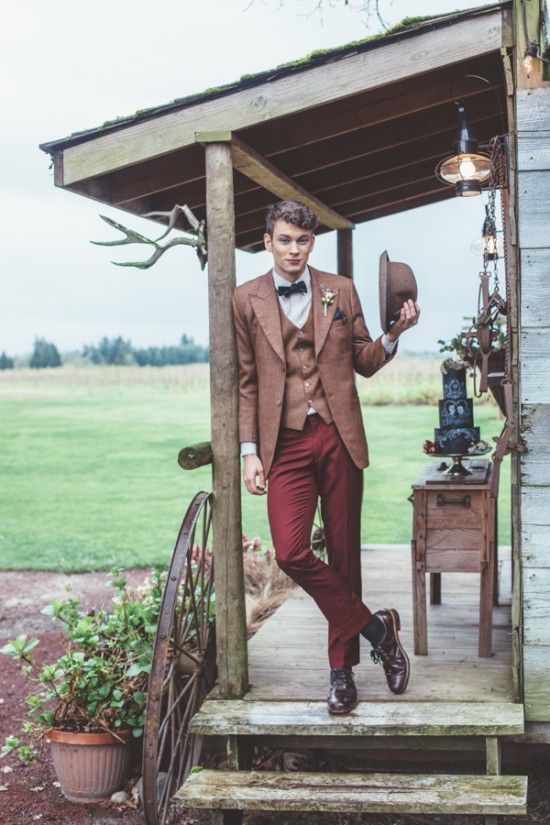 burgundy pants, a rust jacket and vest, plum-colored shoes and a brown hat for a vintage look