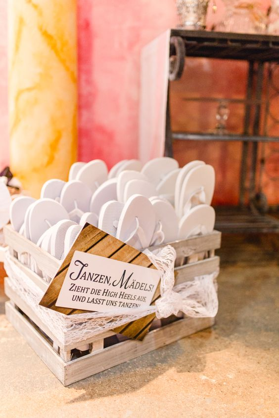 a crate can be used for storing flips flops or other wedding favors and stuff