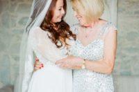 mother of the bride illusion neckline dress
