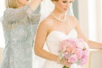17 a grey sparkling sheath knee-length dress with long sleeves and an illusion neckline for a neutral and elegant look
