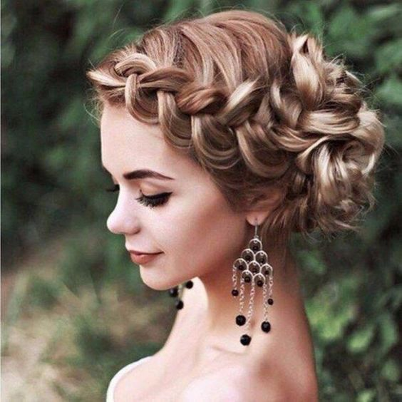 Wedding Hairstyles Examples: Picture Of A Lose Fishtail Braided Updo With A Halo Is A