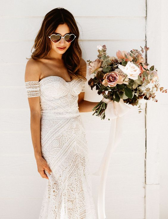 Fleurae boho lace strapless mermaid wedding gown for a romantic boho bride