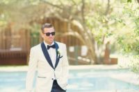 19 a modern take on a white tuxedo look with black lapels and touches for a cool feel