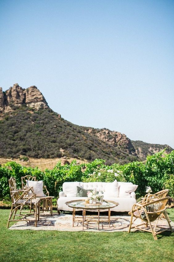 if there's an amazing landscape, a backdrop isn't needed, let the guests enjoy the views