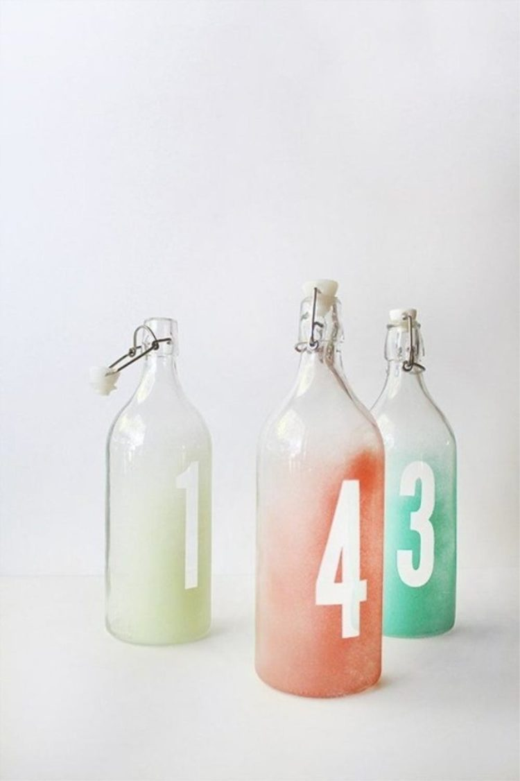 Korken glass bottles are used to make trendy ombre table numbers