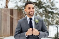 Picture Of A Graphite Grey Groom S Suit With A Burgundy Bow Tie A