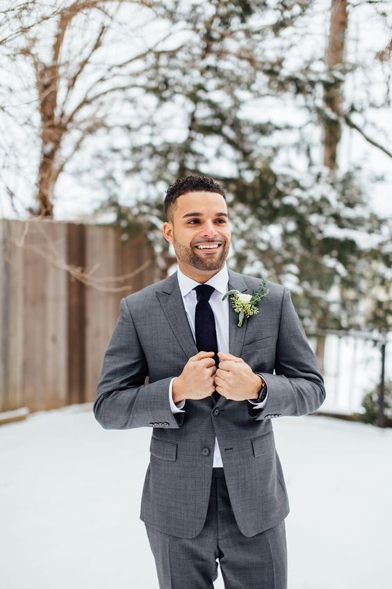 Picture Of a grey groom\'s suit with a black tie and a white shirt is ...