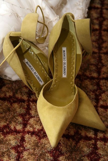 suede wide ankle strap heels by Manolo Blahnik will be a great choice for a fall bride