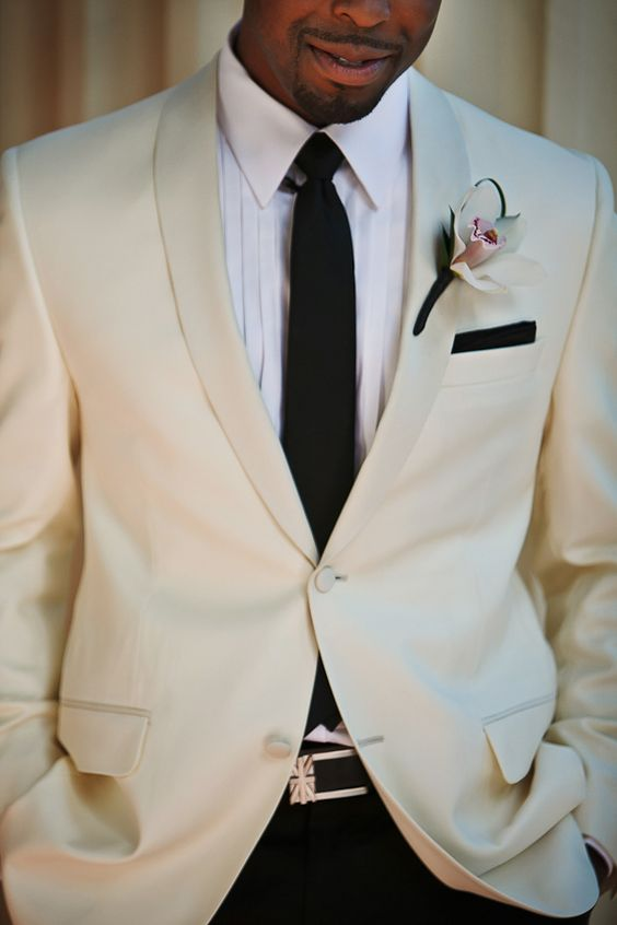 a white dinner jacket can be worn with a usual tie, too, if you don't feel like a bow tie
