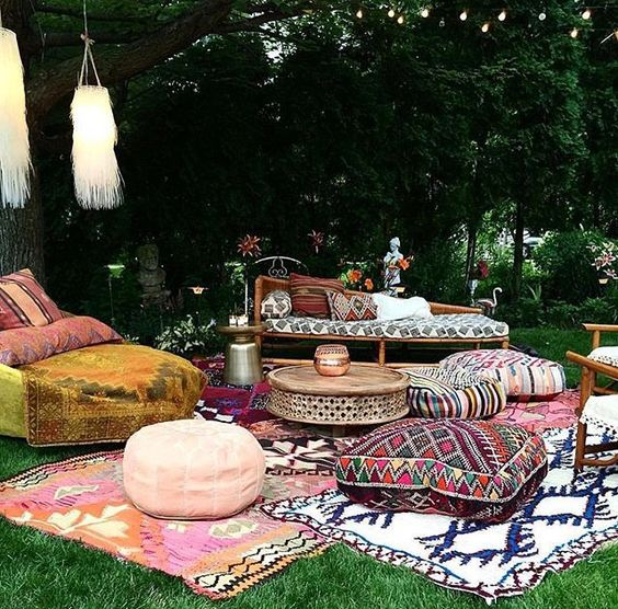 boho chic outdoor area for a wedding