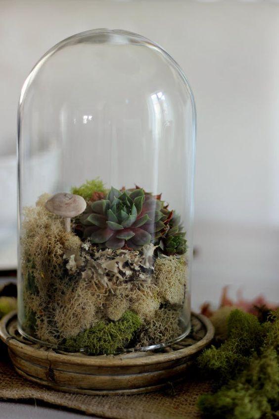 27 brilliant ikea hacks for your wedding weddingomania ikea harliga glass dome is used to make a woodland wedding centerpiece with mushrooms moss junglespirit Images