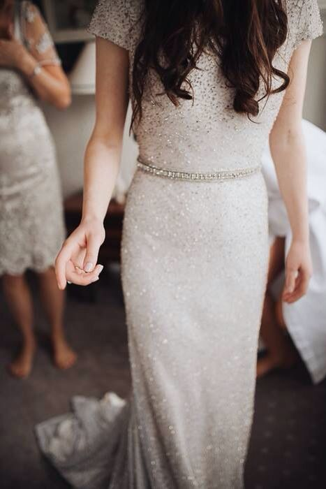 all sparkling glam wedding dress with short sleeves and an embellished belt