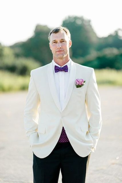 a bold printed bow tie and vest like here - purple ones, can be a fresh take on a classic white tux