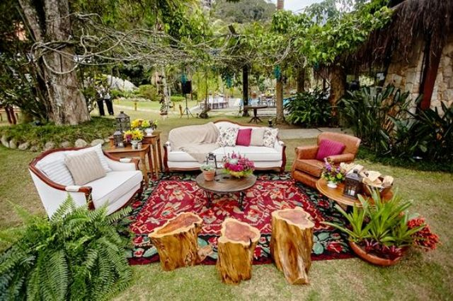 add potted greenery and rugs to create an outdoor living room, which is sure to be very welcoming