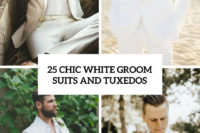25 chic white groom suits and tuxedos cover