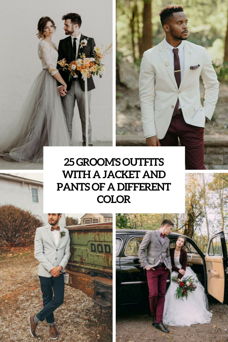groom's outfits with a jacket and pants of a different color cover