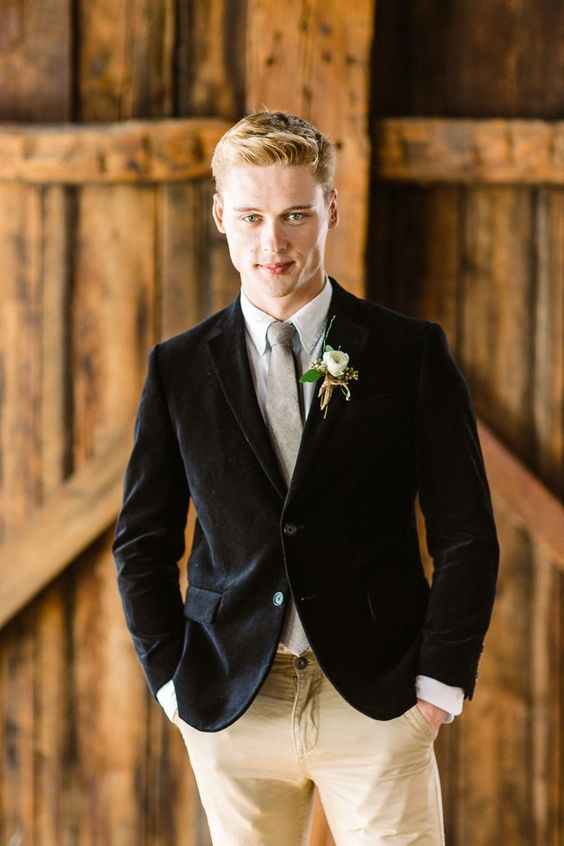 ivory pants, a grey shirt and tie, a black velvet jacket for a relaxed rustic look