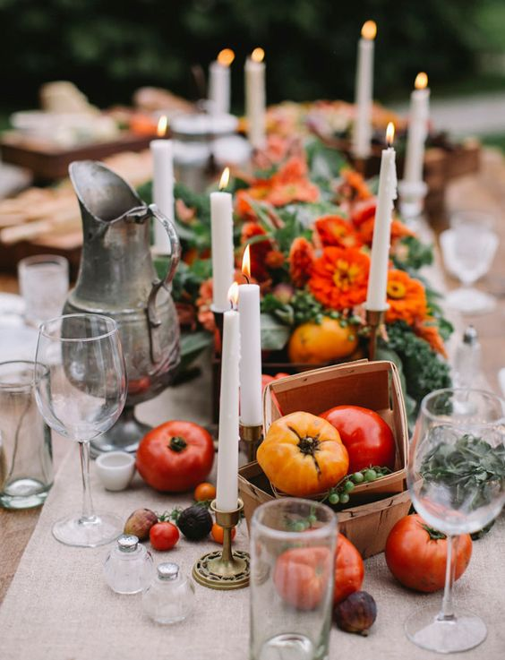 use real veggies and nuts for creating a gorgeosu edible table runner, add candle for an intimate feel