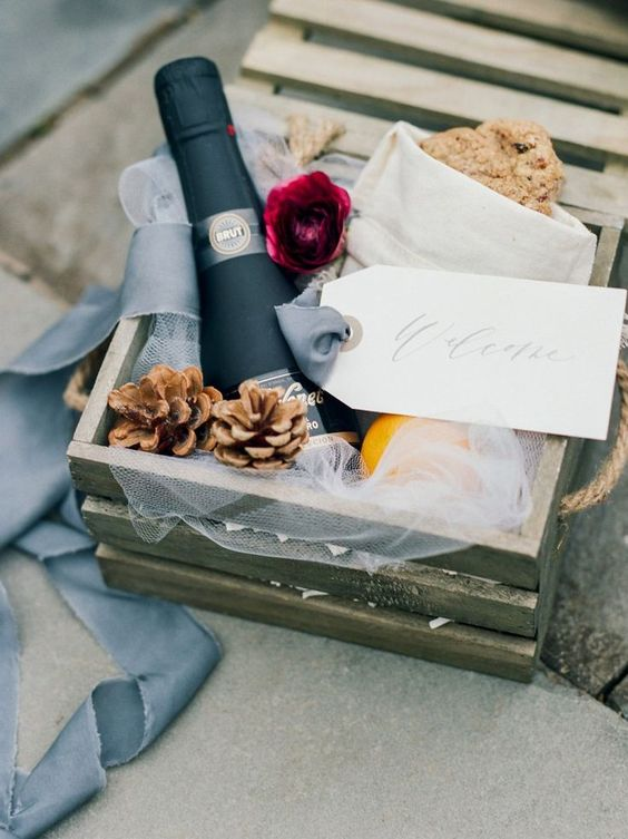 pack wedding favors or welcome bags for your guests into crates that you have at hand
