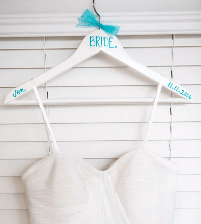 take a sharpie and personalize Bumerang hangers for each person in your birdal party and for yourself