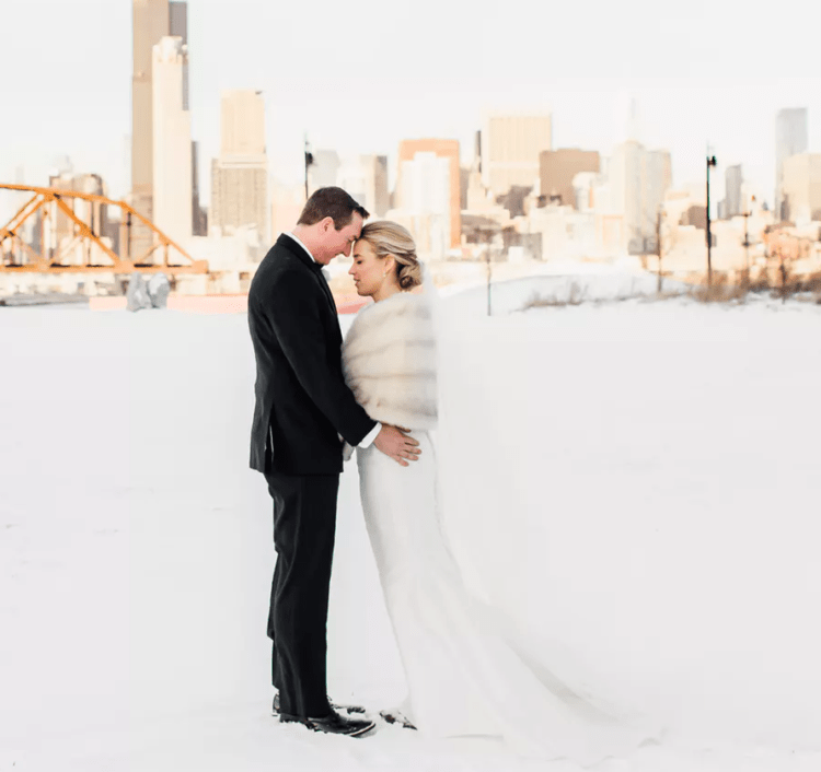This beautiful couple opted for an elegant winter wedding with an industrial chic feel