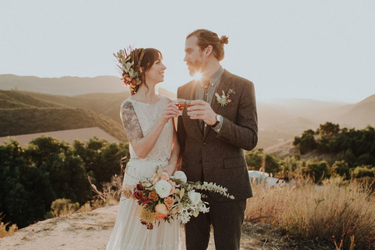 This boho camp wedding shoot included a fire roast fest and lots of things we love about camps
