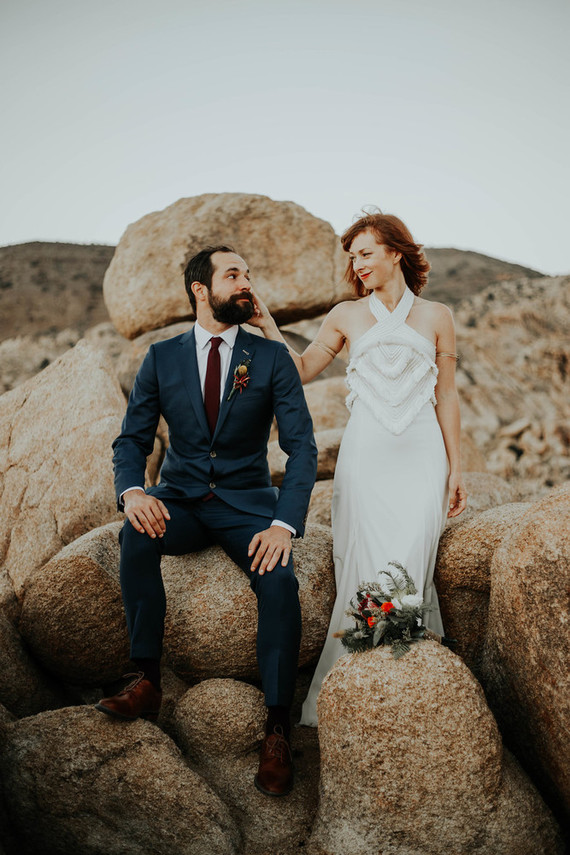 This boho wedding in the desert was all DIY, the couple is in love with California and deserts