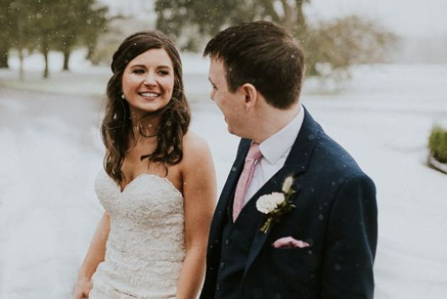 This gorgeous wedding in the snow was filled with personalized touches and rustic romance