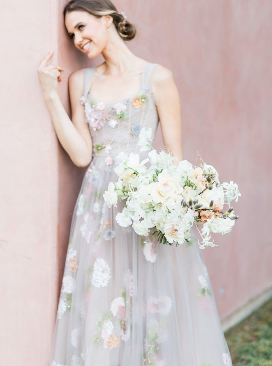 floral pastel wedding dress