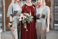 bride in a gorgeous burgundy wedding gown