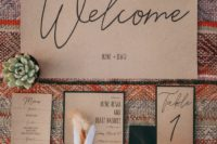 02 The wedding invitation suite was done with kraft paper and black calligraphy for a rustic feel
