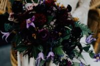02 a stunning dark bouquet in black deep red and purple plus lilac shades and watercolor ribbons