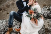 02 amber leather boots are a practical idea for an elopement in nature for both