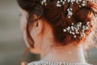 bride wearing baby's breath
