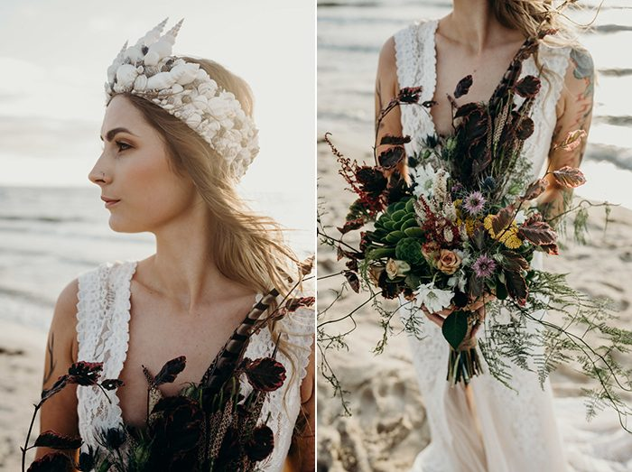 Her moody wedding bouquet was done with greenery and moss