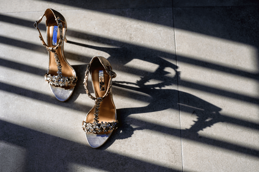 Her wedding shoes were embellished, too
