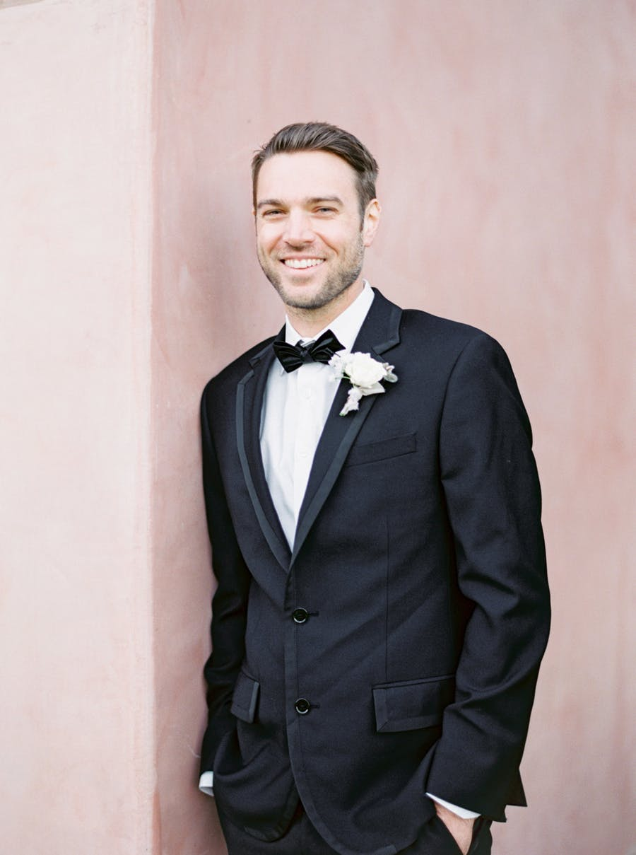 The groom was wearing a black tux for an elegant look