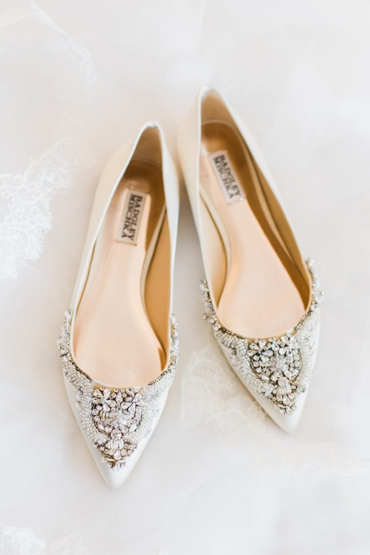 The wedding shoes were chic embellished flats