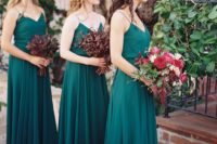 03 emerald spaghetti strap dresses with pleated skirts and fall-like colorful bouquets