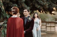 04 The groom was wearing a grey shirt, tie and a burgundy velvet jacket for a catchy look