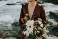 04 a moody pastel wedding bouquet with brown and rust blooms plus blush ones and pampas grass