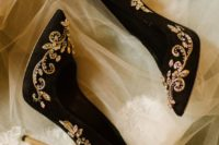 04 black suede wedding heels with gold embroidery and embellishments for a glam bride