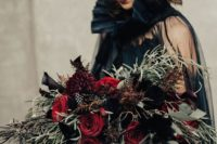 04 deep red and black callas wedding bouquet with cascading greenery of various kinds