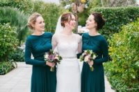 04 emerald maxi dresses with long sleeves and modest necklines for a super elegant look