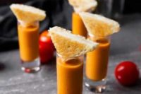 04 tomato bisque shooters with little cheese sandwiches for a simple appetizer