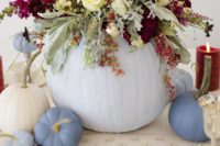 05 chic pastel table decor with pumpkins and a lush floral centerpiece with blooms and pale greenery
